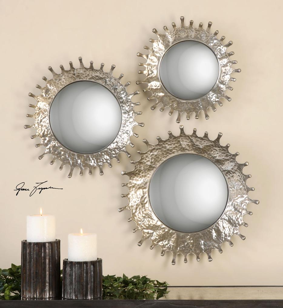 Rain Splash Round Mirrors (Set of 3)