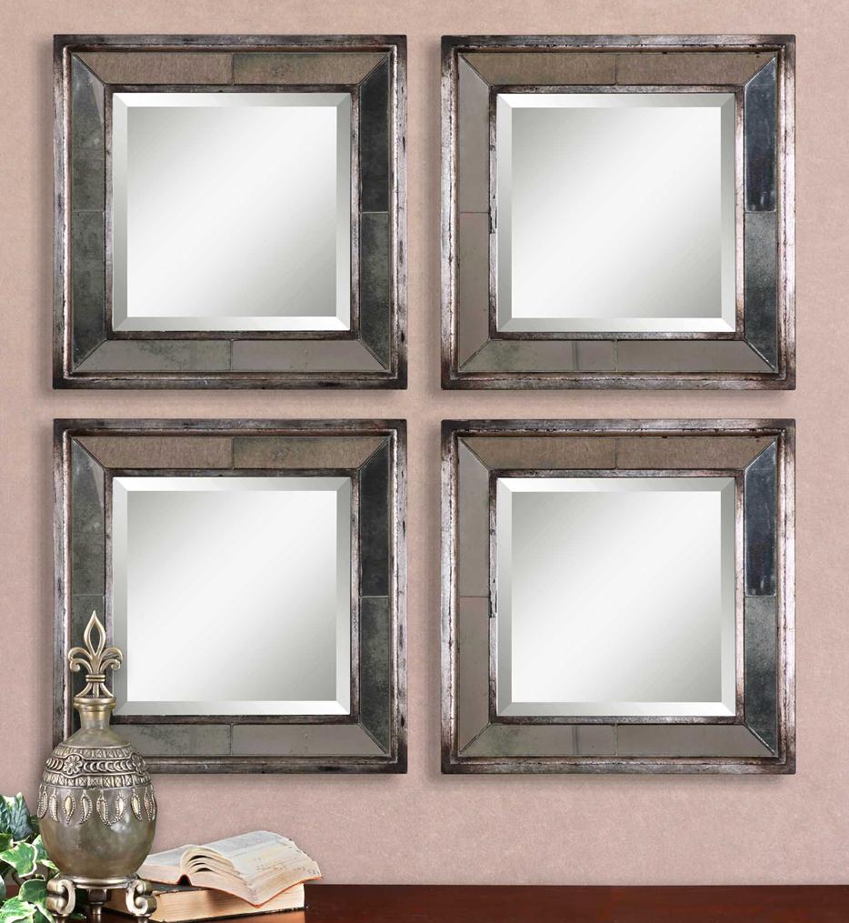 Davion Squares Silver Mirrors (Set of 2)
